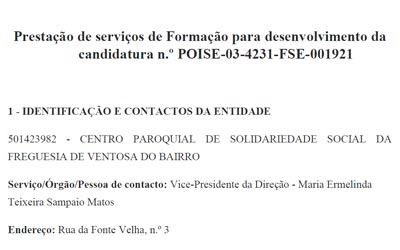 Prestação de serviços de Formação para desenvolvimento da candidatura n.º POISE-03-4231-FSE-001921